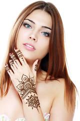 beautiful girl with mehandi
