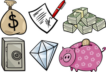 valuable objects cartoon illustration set