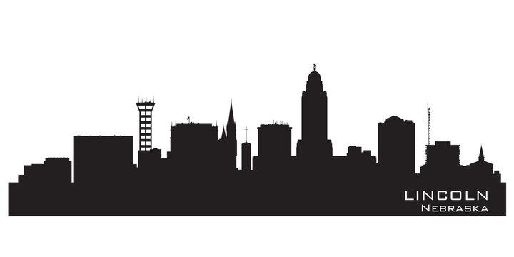Lincoln Nebraska city skyline vector silhouette