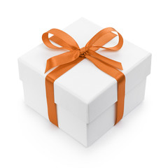 white textured gift box with orange ribbon bow