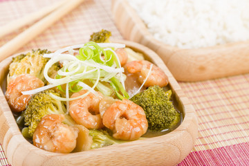 Prawns with Ginger and Spring Onion served with steamed rice