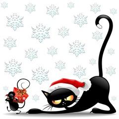 Cat and Mouse Cartoon Christmas Santa-Gatto e Topo Babbo Natale