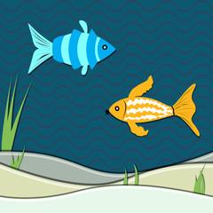underwater ocean scene with fishes