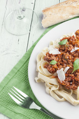 Tagliatelle with meat and tomato