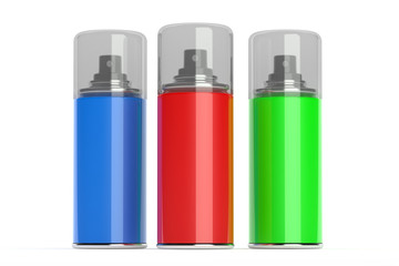 Aerosol spray cans with color paints.