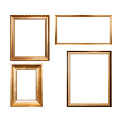 Set of empty wooden frames painted with gold