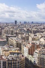 Barcelona panoramic view from Sagrada Familia. Barcelona, Spain