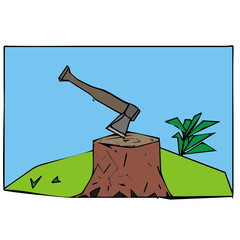 stump ax vector illustration