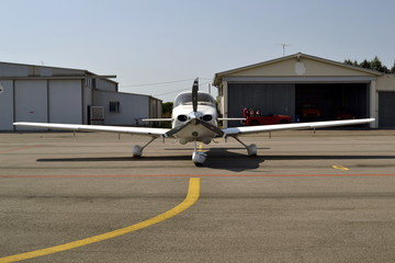 ultralight airplane and hangar