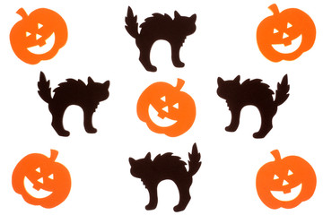 Foam cut out jack o lanters and cats isolated on white