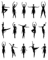A set of silhouettes of women dancing ballet in black dresses