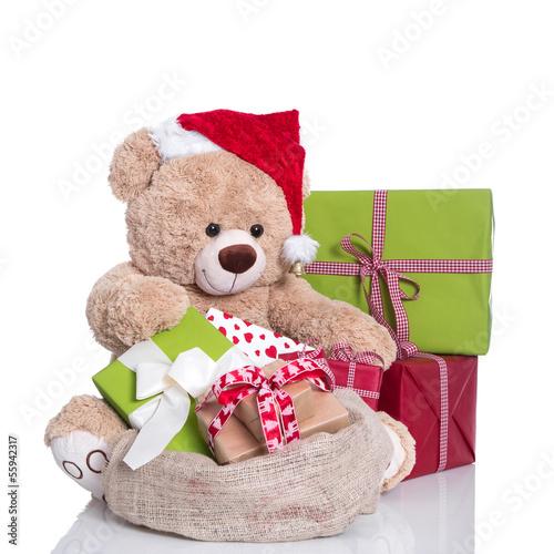 teddyb r als weihnachtsmann isoliert mit geschenke. Black Bedroom Furniture Sets. Home Design Ideas