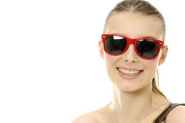 Head shot of smile oman wearing sunglasses