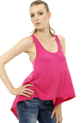 Young woman in red shirt posing isolated