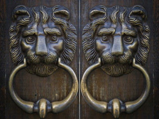 Vintage oriental knocker door of metal lion