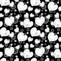 Seamless monochrome pattern with hearts