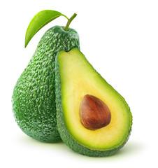 Isolated avocado. Cut avocado fruit isolated on white background
