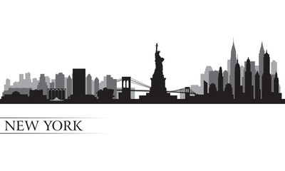 New York city skyline detailed silhouette