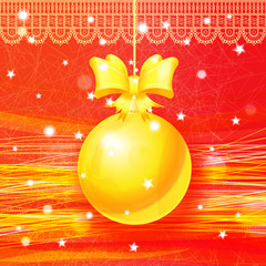 Bright Christmas card with hanging golden ball. Eps10