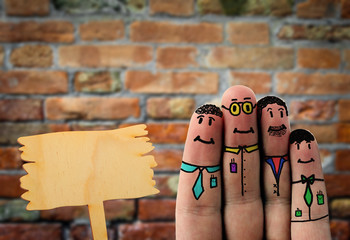 business fingerfigures with free wooden board