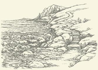 Vector landscape. Steps to rocky shore