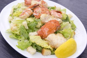 Caesar Salad with Prawns Salmon and White Fish