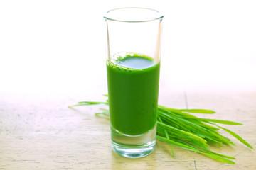 Wheatgrass in glass