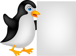 penguin cartoon with blank sign