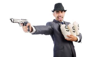 Man with gun and money sacks