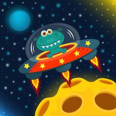 UFO alien, flying saucer  - vector illustration