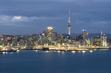 Auckland city skyline in the evening