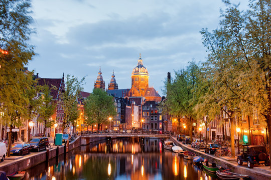 Amsterdam Red Light District in the Evening