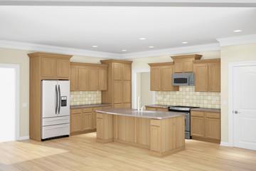Kitchen interior wide angle