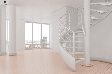 Bright loft with spiral stairs