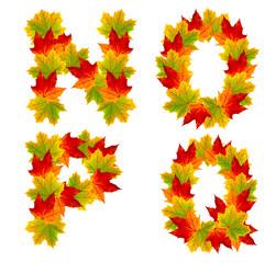 Autumn alphabet isolated on white