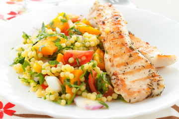 Grilled chicken with couscous salad