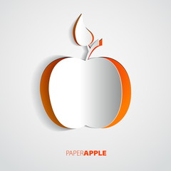 Vector red paper apple card design