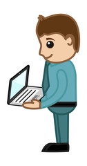 Man Holding a Laptop - Business Cartoons Vectors