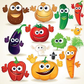 Funny Cartoon Vegetables Clip Art