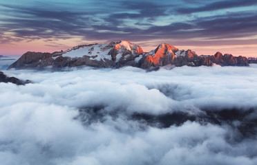 Wall Mural - Mountain Marmolada at sunset in Italy dolomites at summer