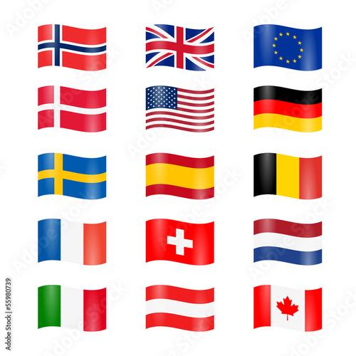 Set Länder Flaggen Geschwungen Stockfotos Und Lizenzfreie Vektoren