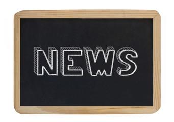 news - handwritten on blackboard
