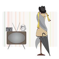 Alarm Clock, TV, Photo Camera, Hat and Umbrella and Dummy.