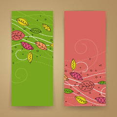 Vector Illustration of Abstract Autumn Banners with Leafs