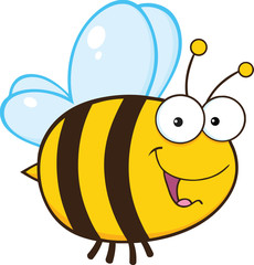 Cute Bee Cartoon Mascot Character
