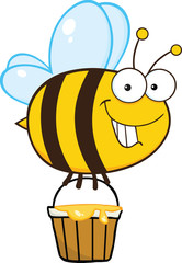Smiling Cute Bee Flying With A Honey Bucket