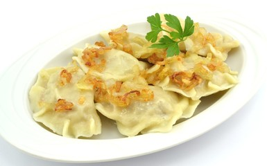 dumplings with meat, cabbage and onion