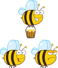 Cute Bee Cartoon Mascot Characters. Set Collection 5