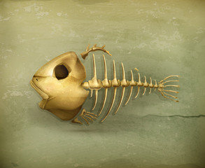 Fish skeleton old style icon