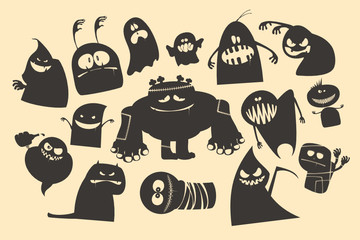 Halloween ghosts silhouettes